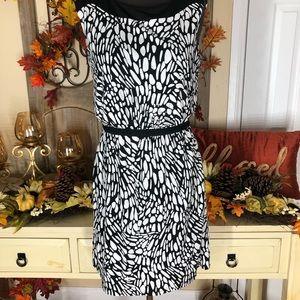 Loft| Wones causal black and white dress